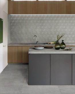 AMB 04 Kronos Prima Materia Cemento  Rectify 80x80 floor 60x120 struttura esagono wall piastrelle