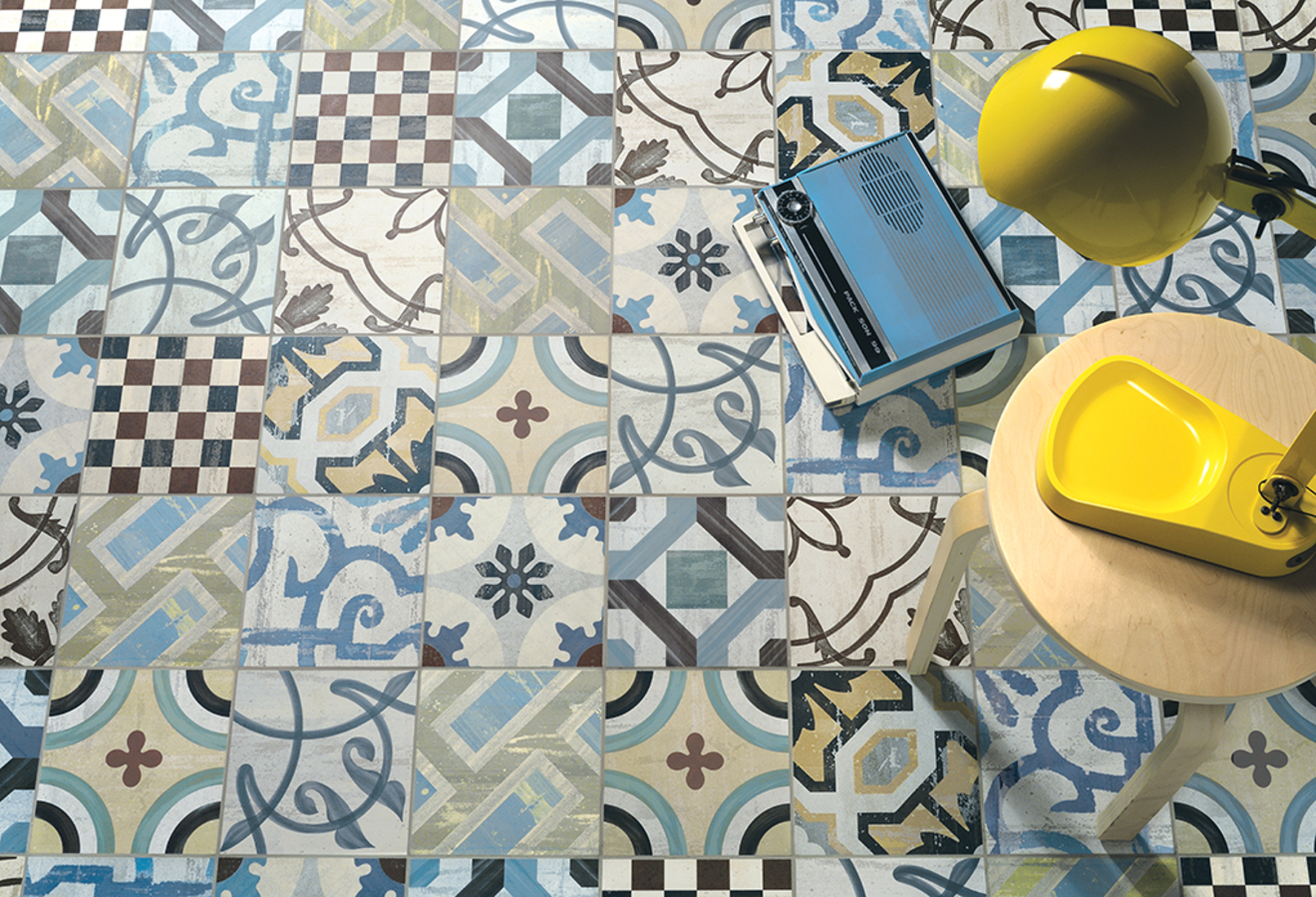 Piastrella in gres porcellanato stile patchwork fioranese